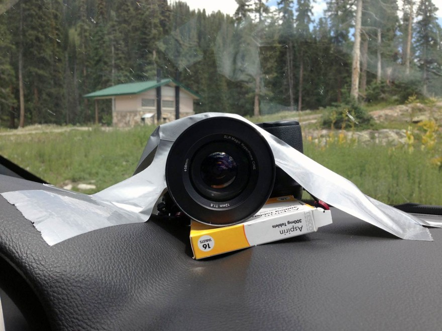 The incredibly high-tech dashboard camera mount we used throughout the production.