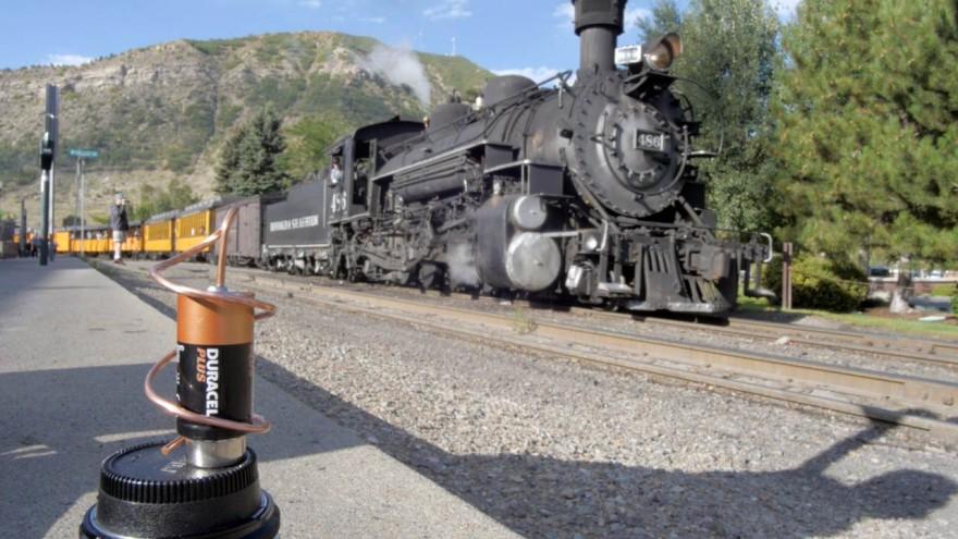 Electric motor and steam locomotive, Durango-Silverton railway.