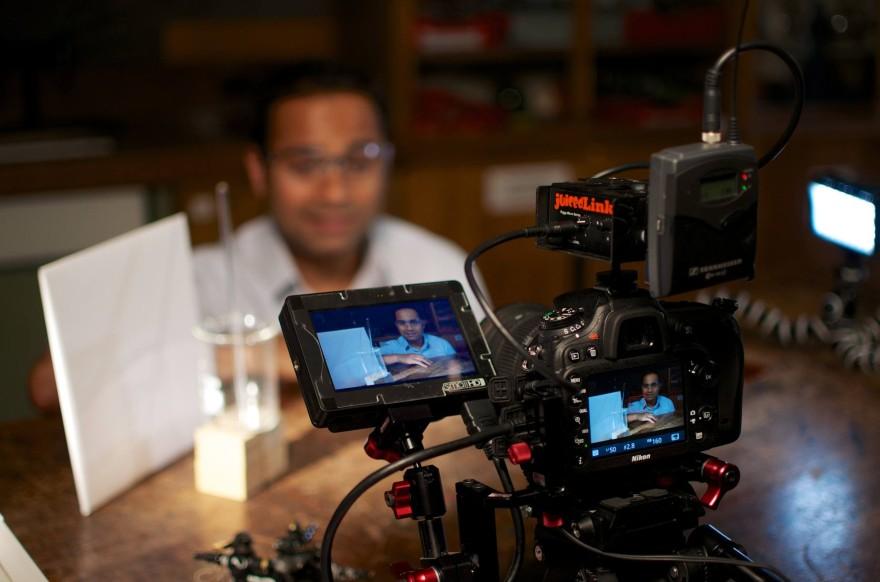 Alom Shaha on camera for Get Set Demonstrate Demo films