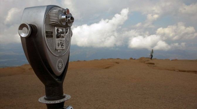A binocular telescope at the summit of Pikes Peak in Colorado.