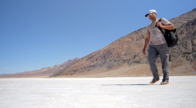 Alom strides out across the salt crust at Badwater Basin