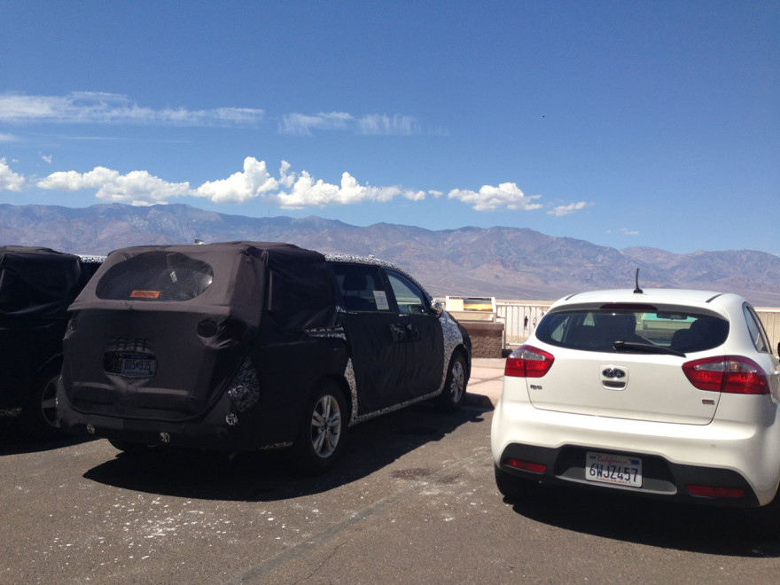 Disguised prototype car testing at Badwater Basin