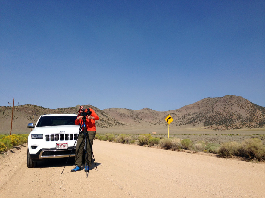 Setting up to film a road in Colorado