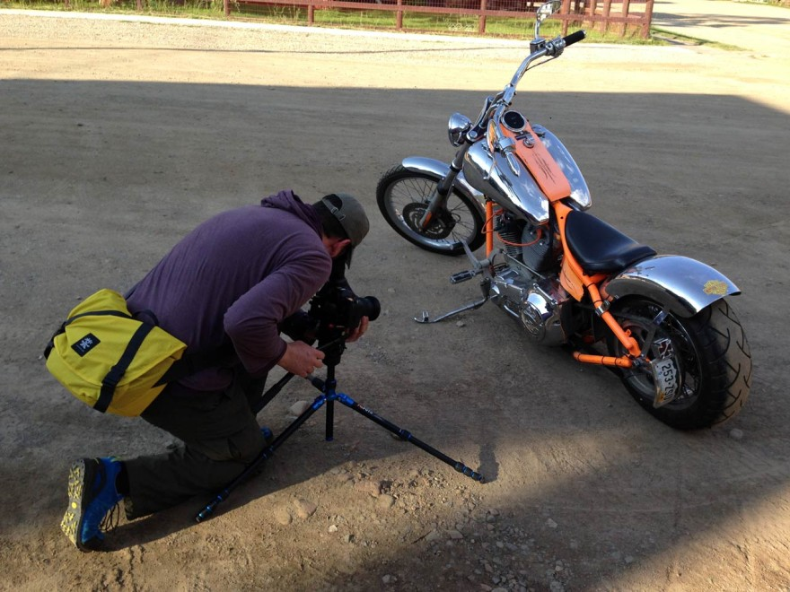 Jonathan lines up to film a Harley in Silverton
