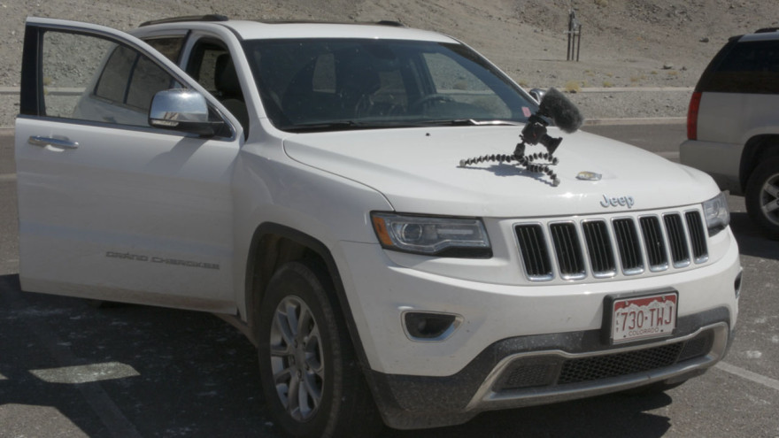 Badwater Basin: a camera films something on the bonnet of the Jeep thing.