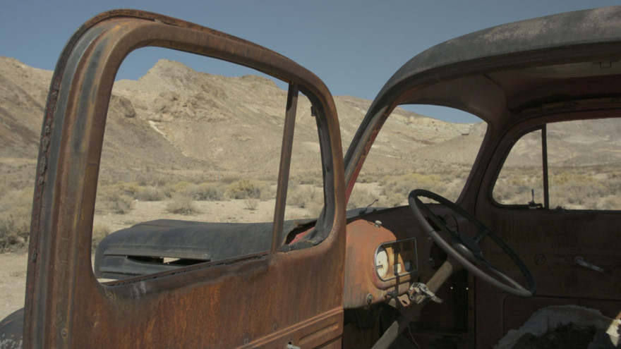 A truck, Rhyolite, just before it played host to a demo.